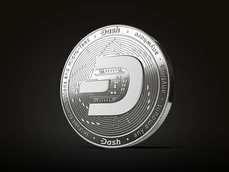 Dash cryptocurrency concept coin with new, 2019 updated logo. Isolated on black background. 3D rendering
