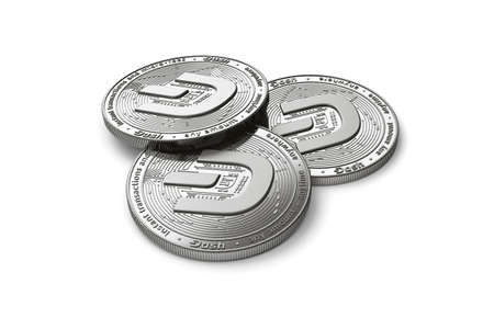 Stack of three silver Dash coins with 2019 logo update, isolated on white background. 3D rendering