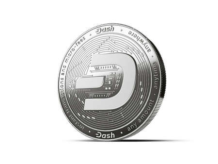 Dash cryptocurrency concept coin with new, 2019 updated logo. Isolated on white background. 3D rendering Imagens - 132282616