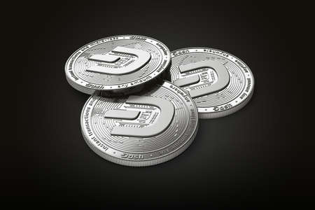 Stack of three silver Dash coins with 2019 logo update, isolated on black background. 3D rendering
