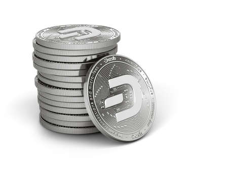 Pile or stack of silver Dash coins with 2019 logo update, isolated on white background. One coin is turned towards the viewer. New virtual money. 3D rendering Imagens - 132282619