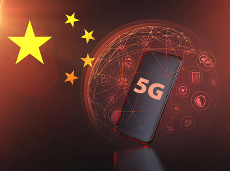 Sensitive data exposed to foreign intelligence through 5G network. 5G Cyber security concept. 3D rendering Imagens