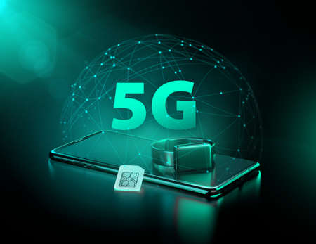 5G technology benefits in your smart devices and wearables. Future of fast data transfers. 3d rendering