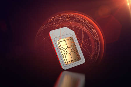 Mobile data exposed to cyber attacks despite some sort of protection sim card. Data transfer security concept. 3D rendering