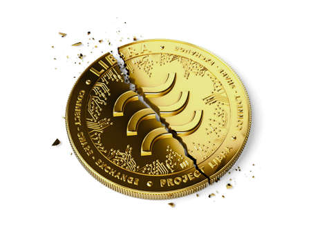 A broken or cracked Libra concept coin is laying isolated on white background. Libra in troubles - abandoned by investors concept. 3D rendering