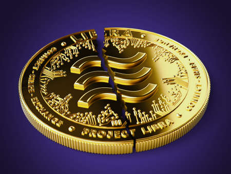 A broken or cracked Libra concept coin is laying on violet background. Libra in troubles - abandoned by investors concept. 3D rendering