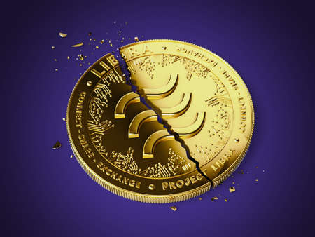 Cracked Libra concept coin is laying on violet background. Investors are pulling back out of Libra project concept. 3D rendering