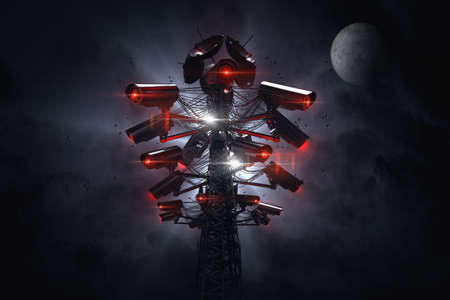 Tower or pylon with many cctv cameras surveilling nearby surroundings. Future with constant surveillance of an Artificial Intelligence and social credit system concept. 3D rendering