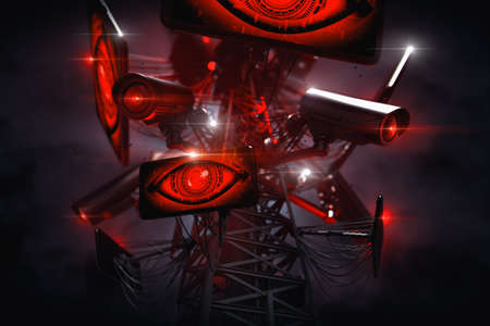 Big Brothers eyes are watching from the tower with many cctv cameras. Constant surveillance and data gathering by Artificial Intelligence. Social credit system concept. 3D rendering