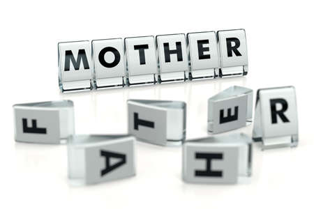 MOTHER word written on glossy blocks and fallen over blurry blocks with FATHER letters. Isolated on white. The courts favor mothers, not fathers - concept for articles, magazines, blogs. 3D rendering