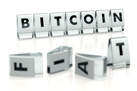 BITCOIN word written on blocks and fallen over blurry blocks with  letters. Isolated on white. The most popular cryptocurrency Bitcoin rivals  currency - concept for articles etc. 3D rendering Imagens