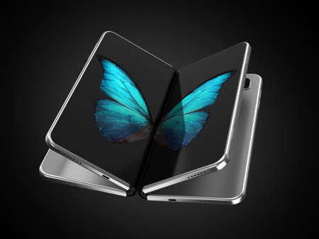 Concept of two foldable smartphone folded and placed next to each other with butterfly image on screens. Flexible smartphone isolated on black background. 3D rendering Imagens - 135783911