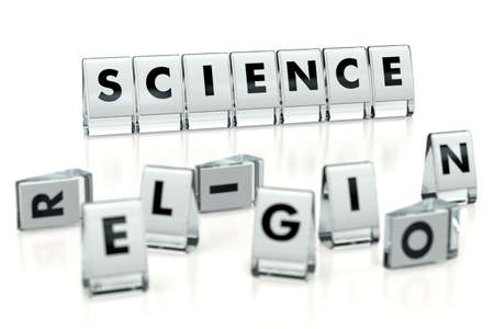 SCIENCE word written on glossy blocks and fallen over blurry blocks with RELIGION letters, isolated on white background. Choosing science over religion - concept. 3D rendering