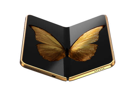 Concept of foldable smartphone folding on the longer side with golden butterfly image on screen. Flexible smartphone isolated on white background. 3D rendering Imagens - 135783912