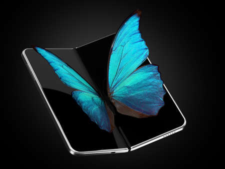 Concept of foldable smartphone folding on the longer side with butterfly sitting on the screen. Flexible smartphone isolated on black background. 3D rendering Imagens