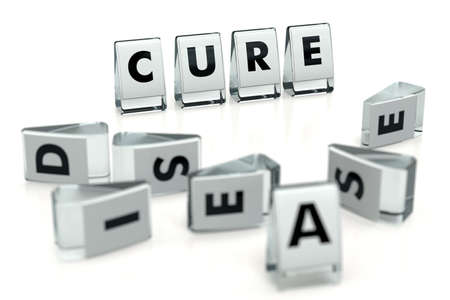 CURE word written on glossy blocks and fallen over blurry blocks with DISEASE letters. Isolated on white. Cure can beat or heal diseases - concept. For articles, magazines, blogs. 3D rendering