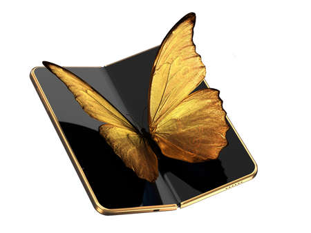 Concept of foldable smartphone folding on the longer side with golden butterfly sitting on the screen. Flexible smartphone isolated on white background. 3D rendering Imagens - 135784340