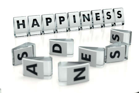 HAPPINESS word written on glossy blocks and fallen over blurry blocks with SADNESS letters, isolated on white background. Don't worry, be happy - concept for articles or blogs. 3D rendering