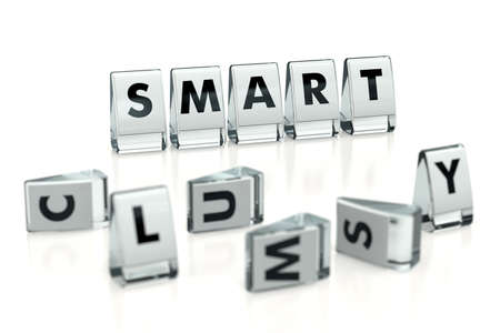 SMART word written on glossy blocks and fallen over blurry blocks with CLUMSY letters, isolated on white background. Difference between smart and clumsy - concept for articles or blogs. 3D rendering