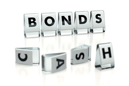 BONDS word written on glossy blocks and fallen over blurry blocks with CASH letters, isolated on white background. Is it better to own bonds over cash - concept for articles or blogs. 3D rendering