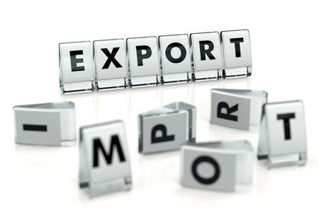 EXPORT word written on glossy blocks and fallen over blurry blocks with IMPORT letters. Isolated on white. Export higher than import - concept for articles, magazines, blogs. 3D rendering Standard-Bild