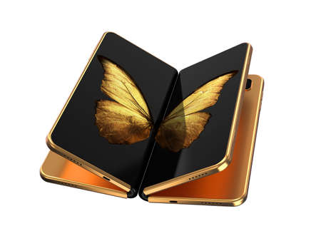 Concept of two foldable smartphone folded and placed next to each other with golden butterfly image on screens. Flexible smartphone isolated on white background. 3D rendering