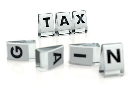 TAX word written on glossy blocks and fallen over blurry blocks with GAIN letters. Isolated on white. High taxes reduces companies' gains - concept for articles, magazines, blogs. 3D rendering