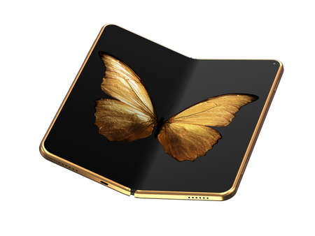 Concept of foldable smartphone folding on the longer side with golden butterfly image on screen. Flexible smartphone isolated on white background. 3D rendering 写真素材