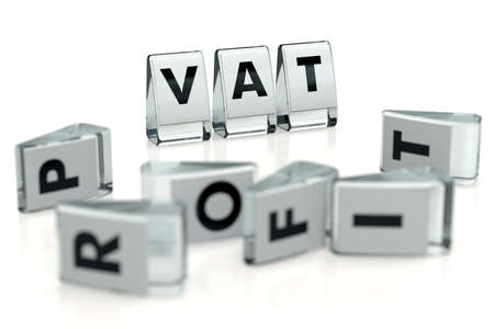 VAT word written on glossy blocks and fallen over blurry blocks with PROFIT letters. Isolated on white. High VAT tax reduces companies' profits - concept for articles, magazines, blogs. 3D rendering