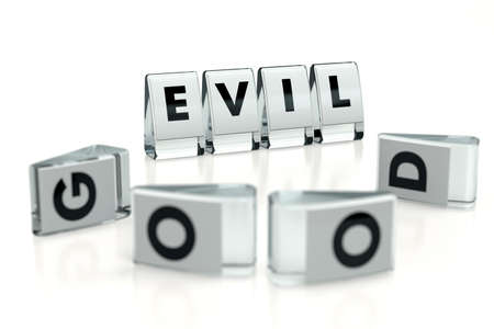 EVIL word written on glossy blocks and fallen over blurry blocks with GOOD letters, isolated on white background. When evil wins, bad things happens - concept for articles or blogs. 3D rendering Standard-Bild
