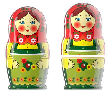 russian dolls: Russian dolls emotion of matryoshka green red