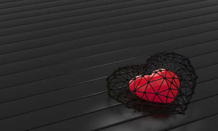arrested: cage with heart inside. 3d render illustration red Stock Photo