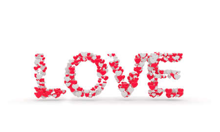 glows: LOVE sign made of little hearts. 3d illustration on white background Stock Photo