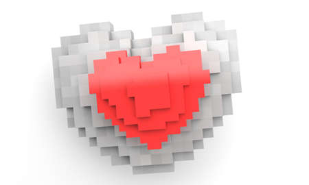 heart 3d: Pixel two heart 3d render illustration. red end gray Stock Photo