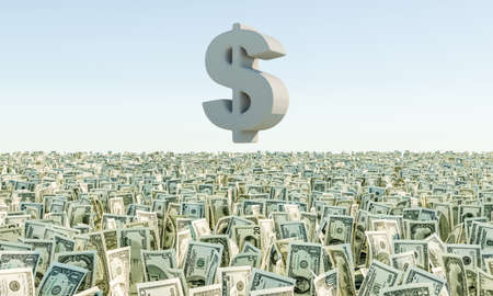 one hundred and ten: Heap of banknote Dollar Bills grass on the background blue sky. 3d render illustration Stock Photo