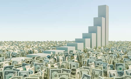 one hundred and ten: Heap of banknote Dollar Bills grass on the background blue sky. money stairs. 3d render illustration