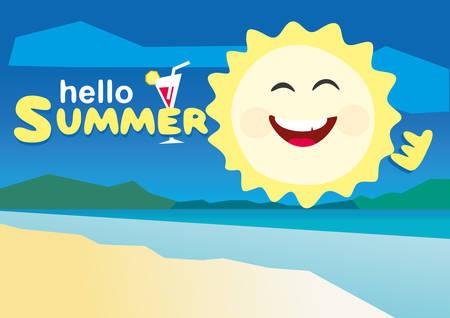Hallo Sommer Vektor-Illustration. Low-Poly-Flach