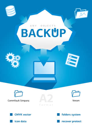 data recovery: Backup and recovery data. Design for Web, Mail, Brochures. Mobile, Technology, and Infographic Concept. Modern flat and line icons.