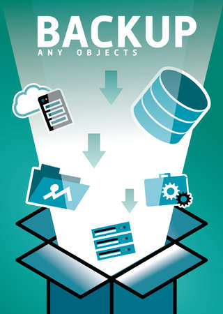data recovery: Backup and recovery data. Computer cloud backup infographic. Templates. Mobile, Technology, and Infographic Concept. Illustration