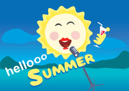 sings: Vector illustration. The sun sings into the microphone. Summertime and holiday