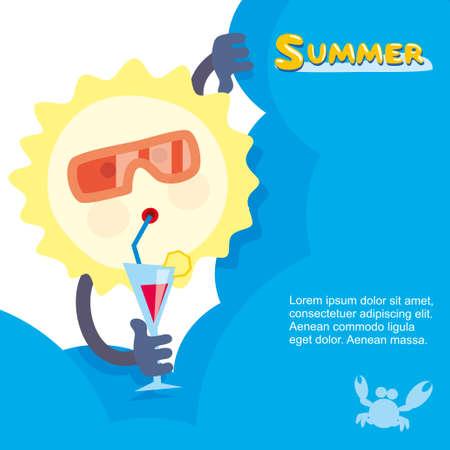 sol del verano en gafas de sol y relajarse con un cóctel Ilustración de vector