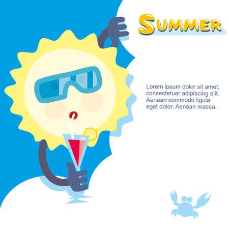 sol del verano en gafas de sol y relajarse con un cóctel