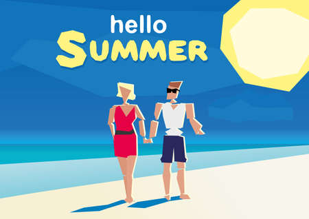 couple holding hands: flat design summer beach and sea cartoon characters young laughing surf man and woman couple holding hands. low poly Illustration