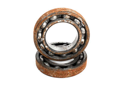 chromium plated: Old and rusty ball bearing, isolated