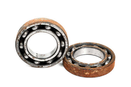 chock: Old and rusty ball bearing, isolated