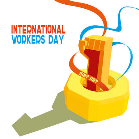 work worker workforce world: 1 May International Workers Day. May first labor day. Poster, banner or flyer design with stylish text 1st May on blue background, concept for labours day. vector illustration