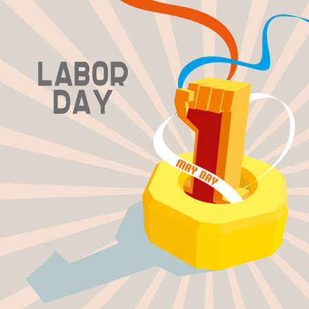 first day: 1 May International Workers Day. May first labor day. Poster, banner or flyer design with stylish text 1st May on blue background, concept for labours day. vector illustration