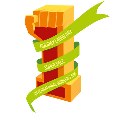 entwine: Happy May Day, Workers Day and Labor day designs. Up human hand.  ribbons with inscriptions, entwine arms element Illustration