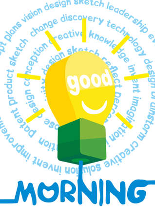 wake up happy: Good morning greeting card, poster, print. Blue background with hand lettering, sun rays