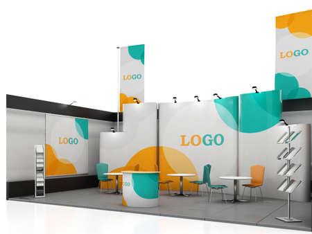 Blank kreativen Messestand-Design mit Farbformen. Booth Vorlage. Korporativsymbolik und Corporate Identity. 3d render